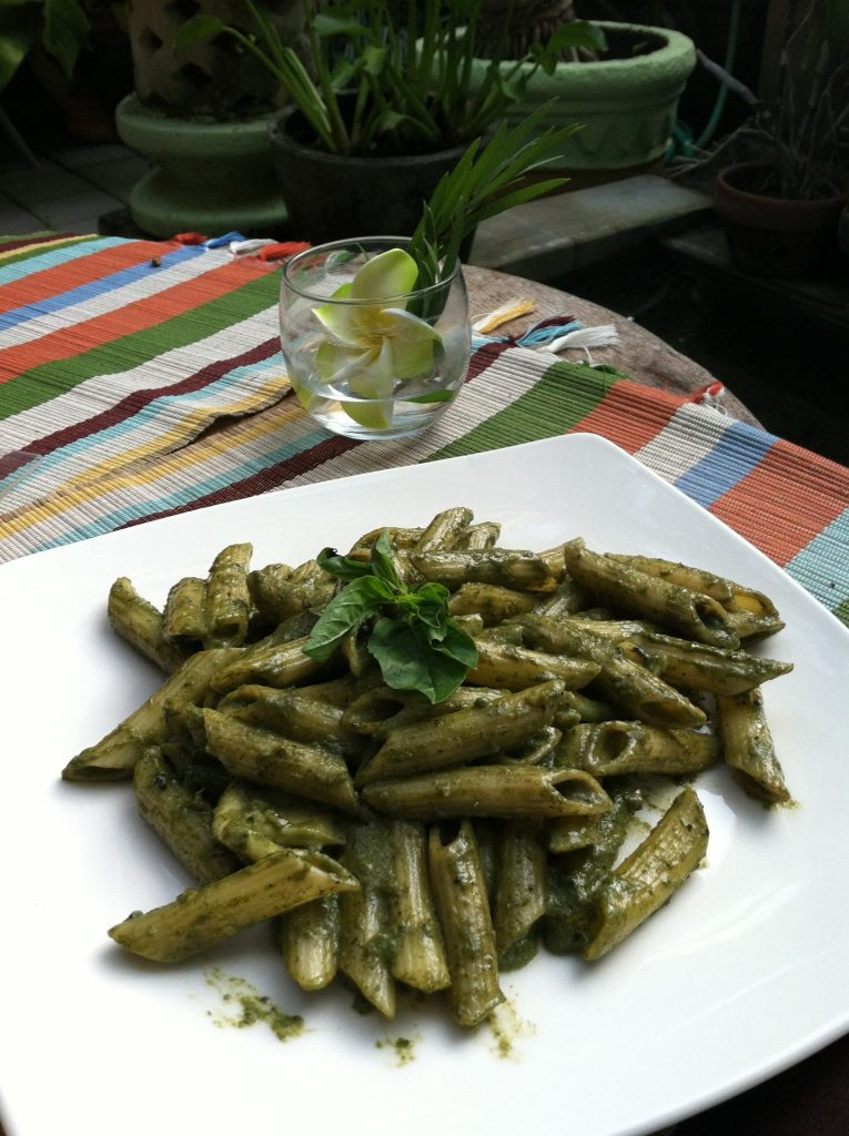 Treating myself to a well deserved and utterly delicious plate of penne pasta, slathered in pesto at the Garage. ~in Canggu, Bali - Indonesia~