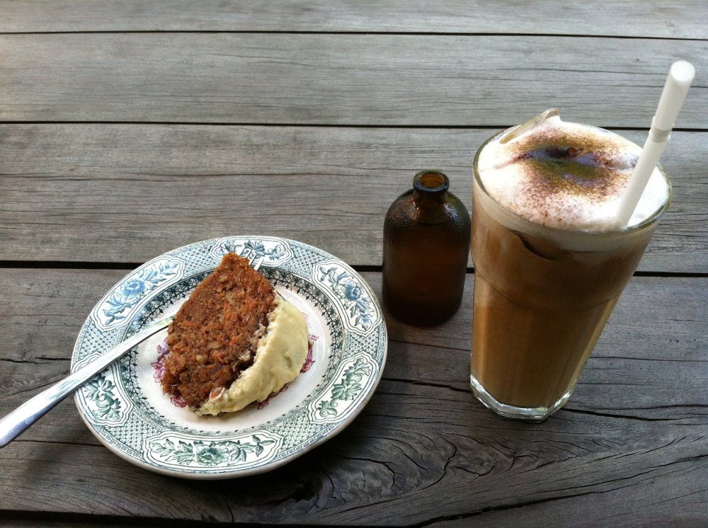Had a slice of carrot cake and my first ever cappuccino (that lil' brown bottle contains the syrup for sweetening my cap) at Habitual in celebration of my Grandma's 89th Birthday...Happy Birthday Shug!!! ~in Umalas, Bali - Indonesia~