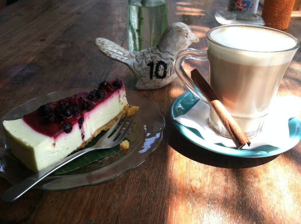 Chai tea & cheese cake does a body good! ~at Bungalow Living in Canggu, Bali - Indonesia~