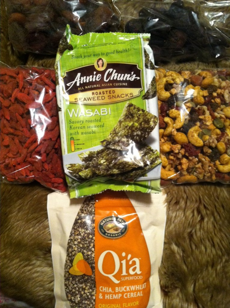 Snack time! Dried goji berries, dried figs, Turkish dried apricots, seaweed, and a delicious trail mix.