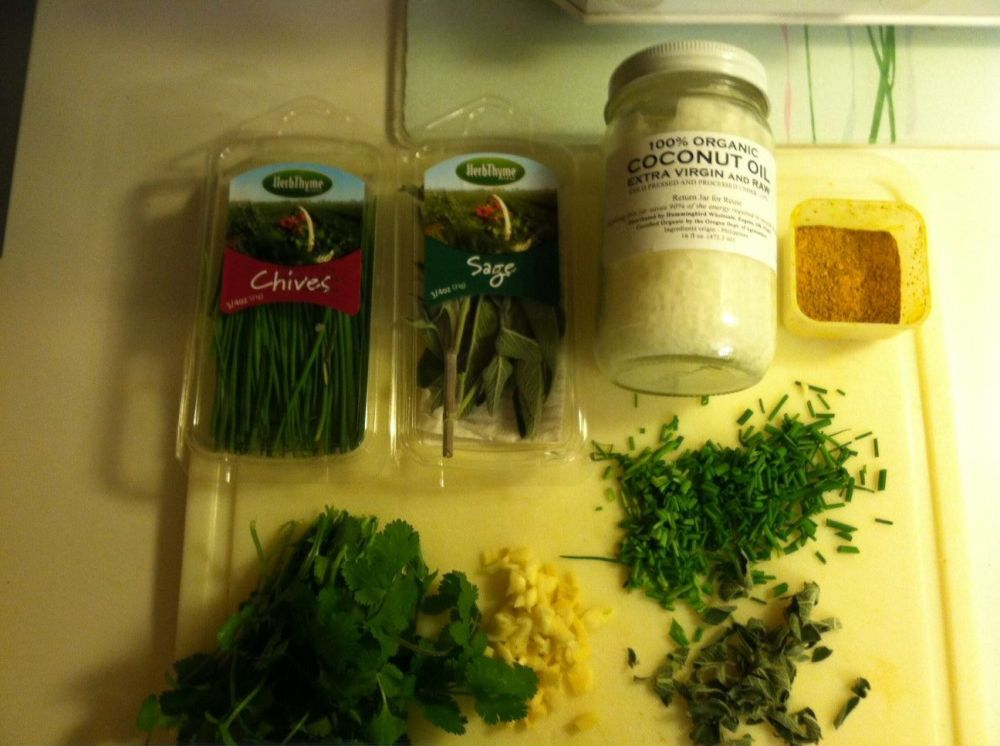 The ingredients I used in tonights' simple meal include; chives, sage, cilantro, ginger, garlic, tumeric, jerk seasonings, black pepper, raw coconut oil, and a few red pepper flakes...