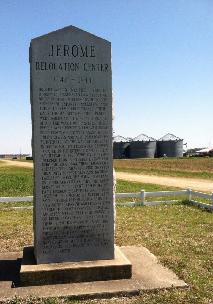 The monument testifying in stone to what took place on this fertile land not so long ago.