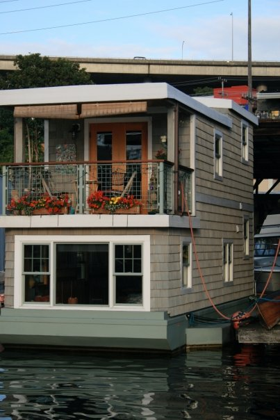 An adorably cute house boat moored on Lake Union. ~in Seattle, Washington~