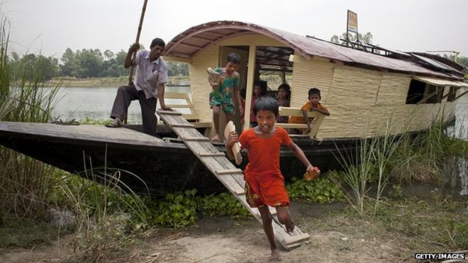Floating schools, like this one in Bangladesh, are used to reach remote communities.
