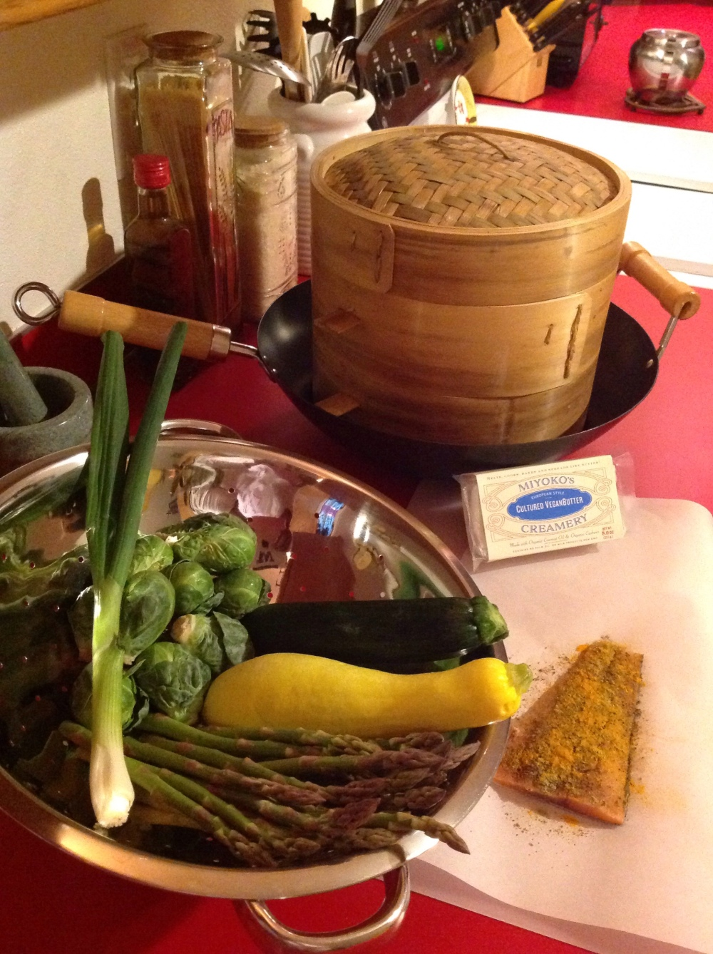 Prepping tonight's meal for my bamboo steamer...