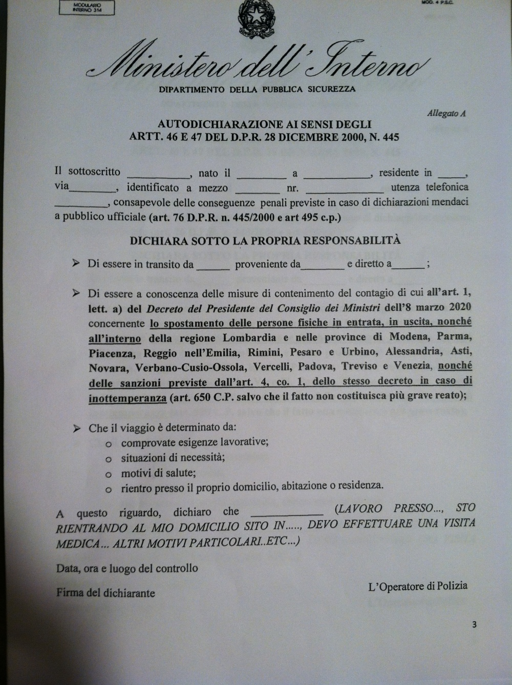 Italian Document for Traveling During Pandemic Restriction