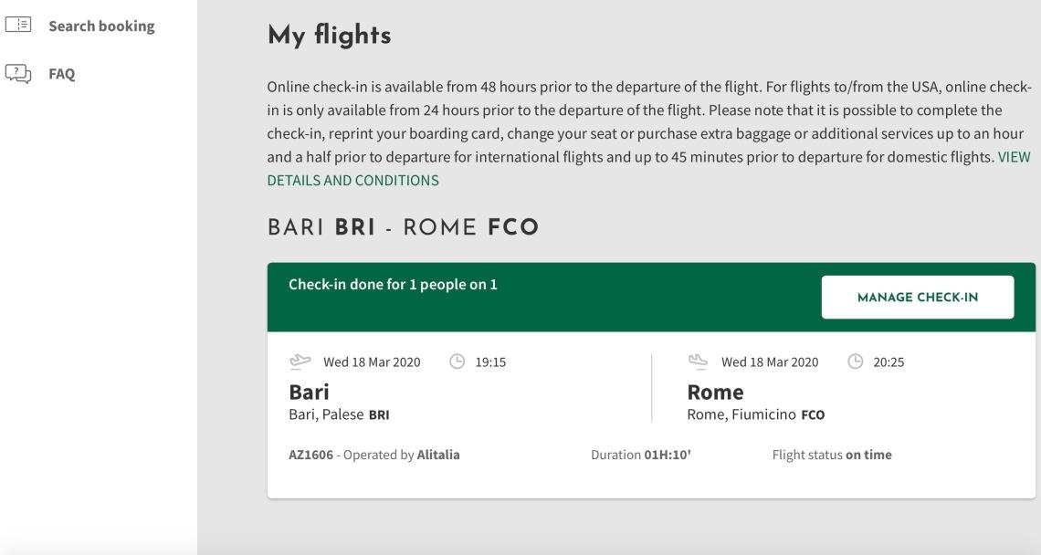 Alitalia Flight Info