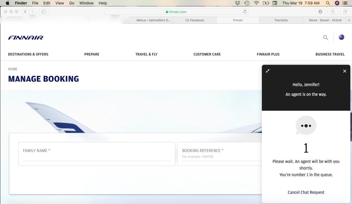 Finnair Virtual 'Customer Service' Queue