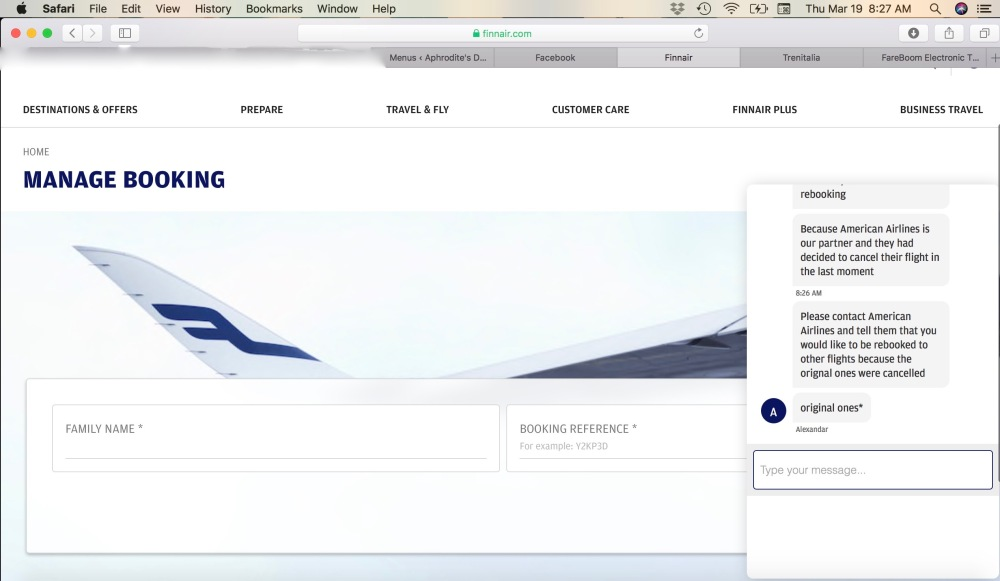 Finnair Virtual 'Customer Service' Conversation