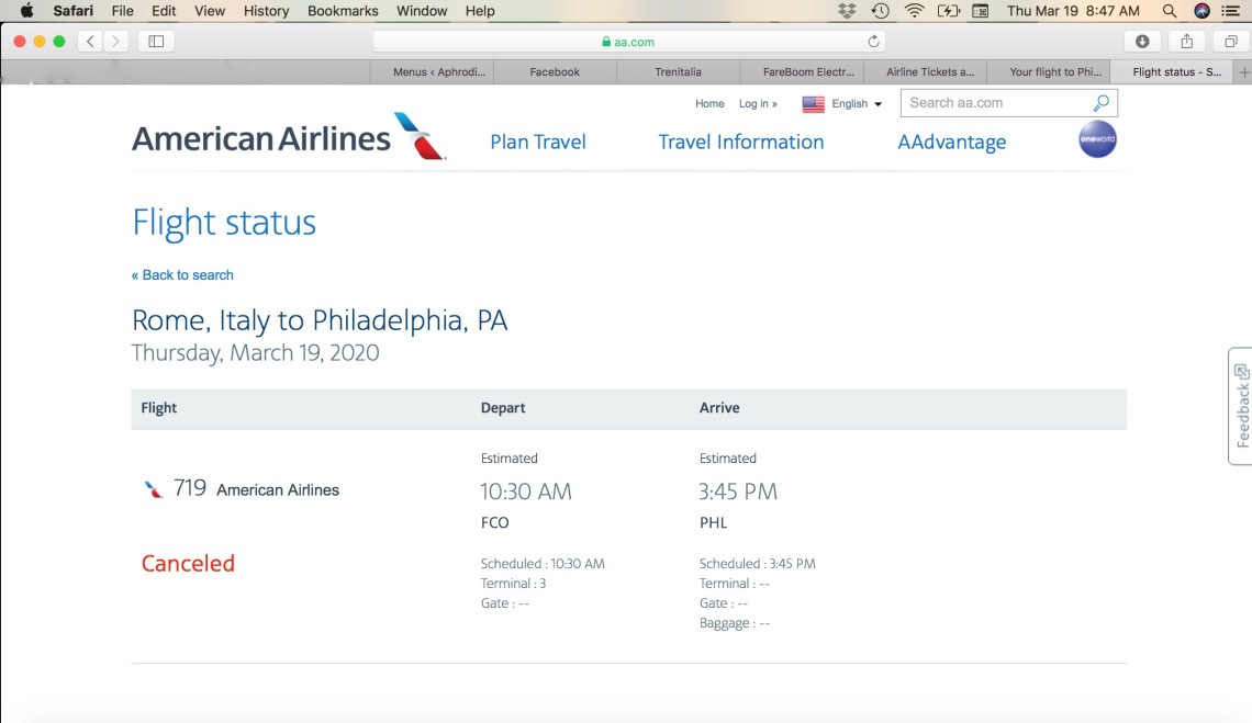 American Airlines - (After the Fact) Flight Update